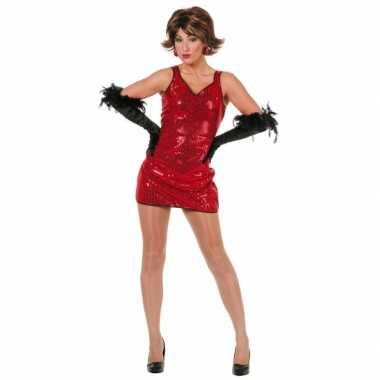 Carnavalskleding glitter jurkjes rood