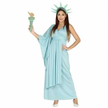 Carnavalskleding jurk vrijheidsbeeld blauw