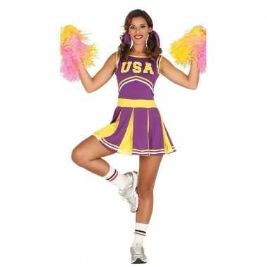 Carnavalskleding paarse cheerleader voor dames