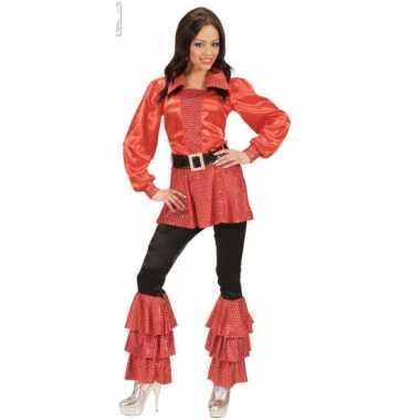 Carnavalskleding rode dames shirts met pailletten