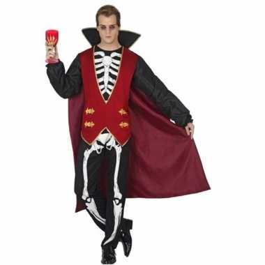 Carnavalskleding vampier met skelet opdruk
