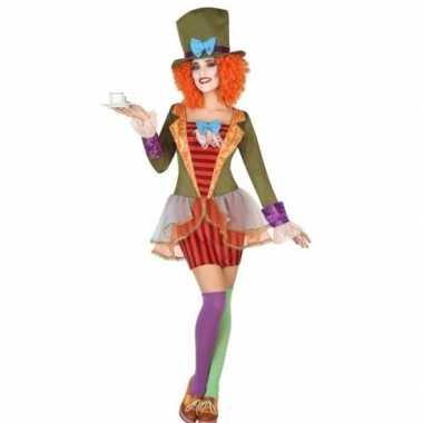 Clown met hoge hoed verkleed set voor dames