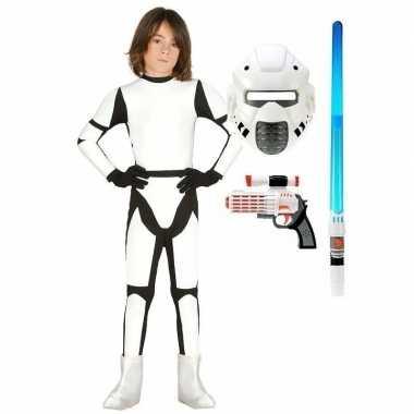 Compleet space trooper carnavalskleding maat 140 152 voor kinderen