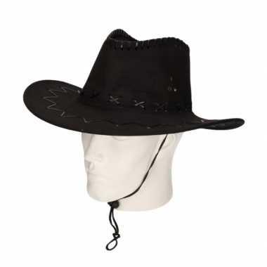 Cowboy hoed zwart suede look