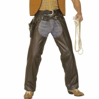 Cowboy overbroek lederlook bruin