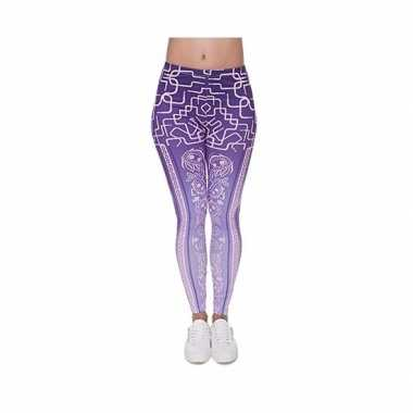 Dames party legging modieuze paarse print