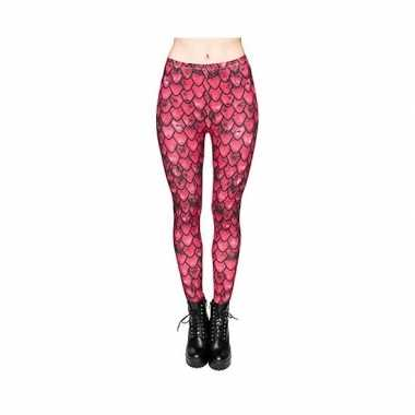 Dames party legging rode zeemeerminnen print