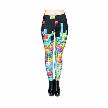 Dames party legging tetris print