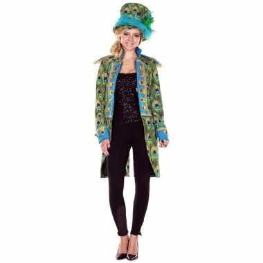 Dames pauwenprint carnavalskleding jas