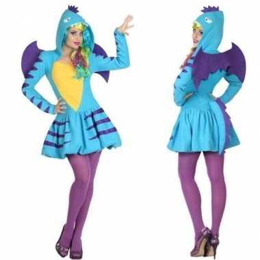 Dierenpak blauwe draak verkleed carnavalskleding/jurk voor dames