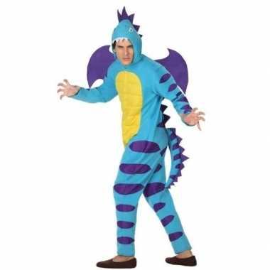 Dierenpak blauwe draak verkleedcarnavalskleding voor volwassenen