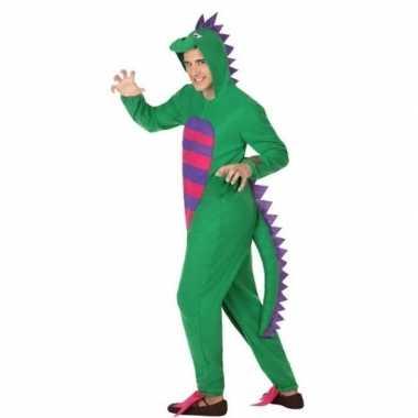 Dierenpak groene draak verkleedcarnavalskleding voor heren