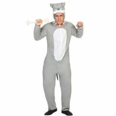 Dierenpak pit bull hond verkleed carnavalskleding grijs voor volwasse