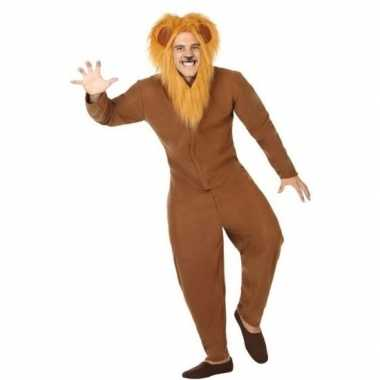 Dierenpak verkleed carnavalskleding bruine leeuw voor volwassenen