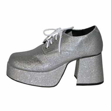 Disco blokhak schoenen zilver