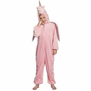 Eenhoorn dieren onesie/carnavalskleding voor kinderen roze