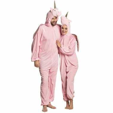 Eenhoorn dieren onesie/carnavalskleding voor volwassenen roze