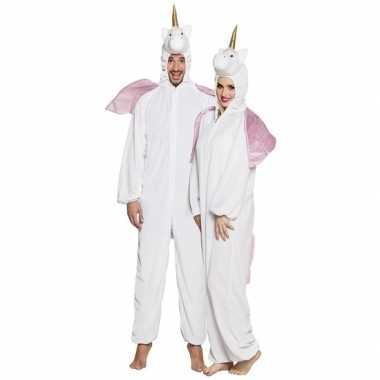 Eenhoorn dieren onesie/carnavalskleding voor volwassenen wit