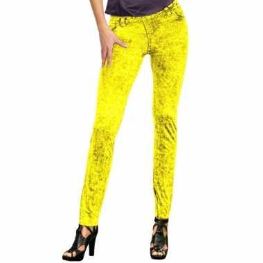 Feestcarnavalskleding jeans legging neon geel