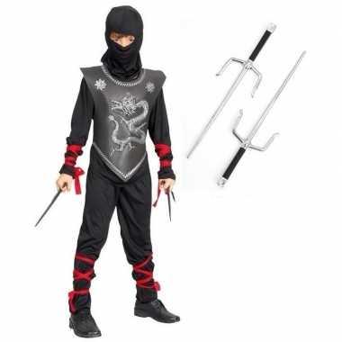 Feestcarnavalskleding ninja met dolkenset maat l voor kinderen