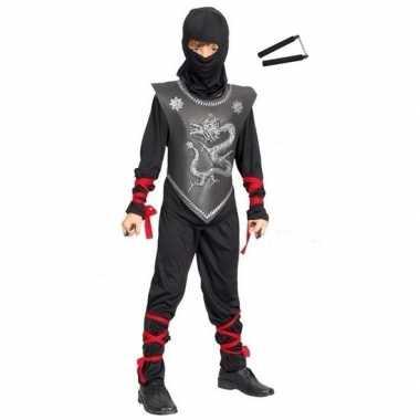 Feestcarnavalskleding ninja met vechtstokjes maat s voor kinderen