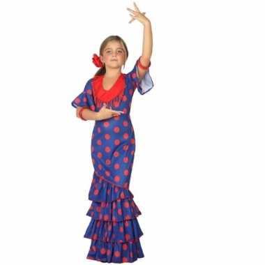 Flamenco danseres carnavalskleding blauw met rood