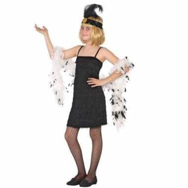 Flapper franje verkleed carnavalskleding/jurkje zwart voor meisjes