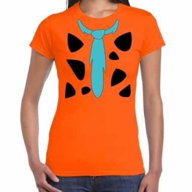 Fred holbewoner carnavalskleding t shirt oranje voor dames