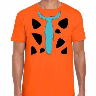 Fred holbewoner carnavalskleding t shirt oranje voor heren