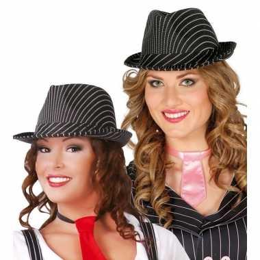 Gangster hoed zwart/wit voor dames/heren