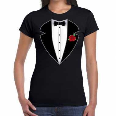 Gangster / maffia pak carnavalskleding t shirt zwart voor dames