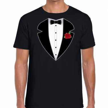Gangster / maffia pak carnavalskleding t shirt zwart voor heren