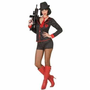 Gangster verkleed carnavalskleding voor dames