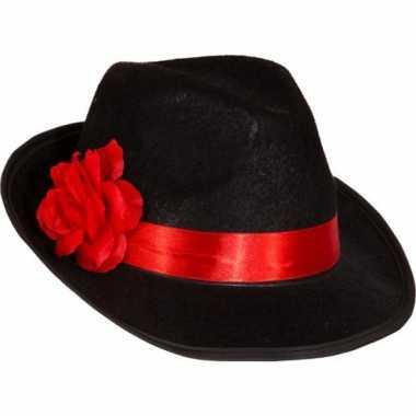 Gangsterhoed met rode bloem verkleed accessoire