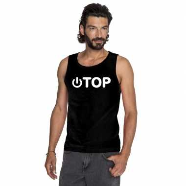 Gay singlet shirt/ tanktop power top zwart heren