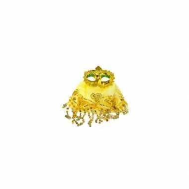 Geel oogmasker met glitters