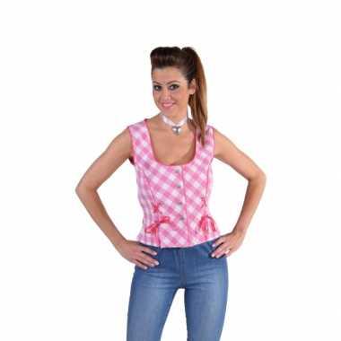 Geruit hemd roze