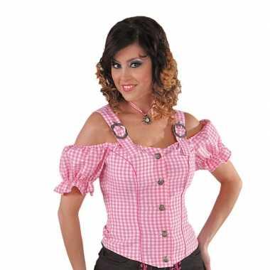 Geruite cowgirl overhemd voor dames roze