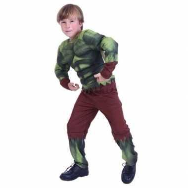 Gespierde groene held carnavalskleding voor jongens