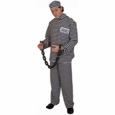 Gestreept gevangene carnavalskleding volwassene