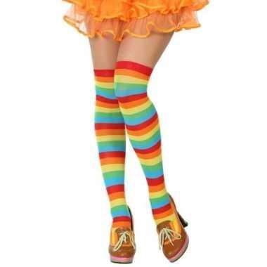 Gestreepte kousen clown verkleed accessoire voor dames