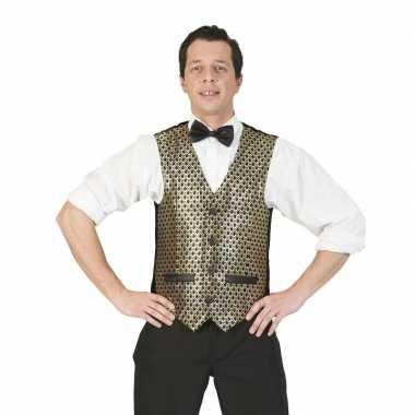 Goud/zwart verkleed gilet voor heren