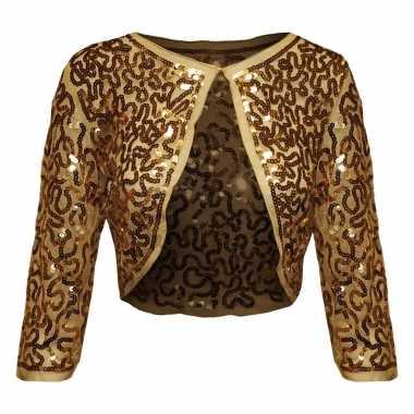 Gouden glitter pailletten disco bolero jasje dames