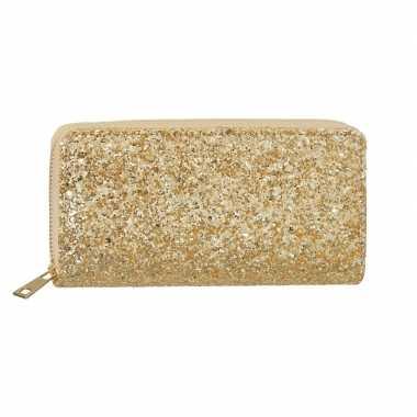 Gouden glitter portemonnee voor dames