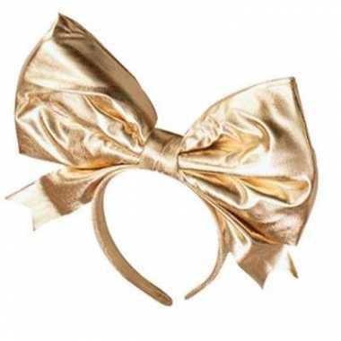 Gouden haarband met mega strik
