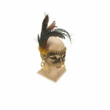 Gouden oogmasker met kralen en veren