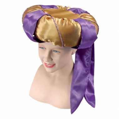 Gouden tulband met paarse en goud