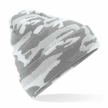 Grijze camouflage gebreide wintermuts voor volwassenen