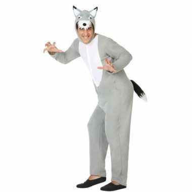 Grijze wolf dieren verkleed carnavalskleding/onesie voor volwassenen