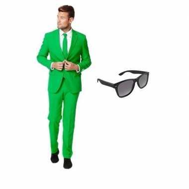 Groen heren carnavalskleding maat 52 (xl) met gratis zonnebril